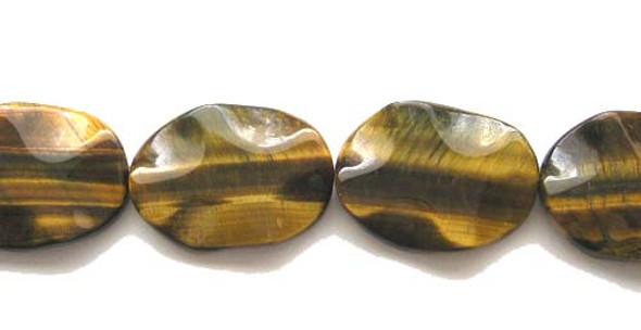 18x25mm Tiger Eye Wavy Oval Beads