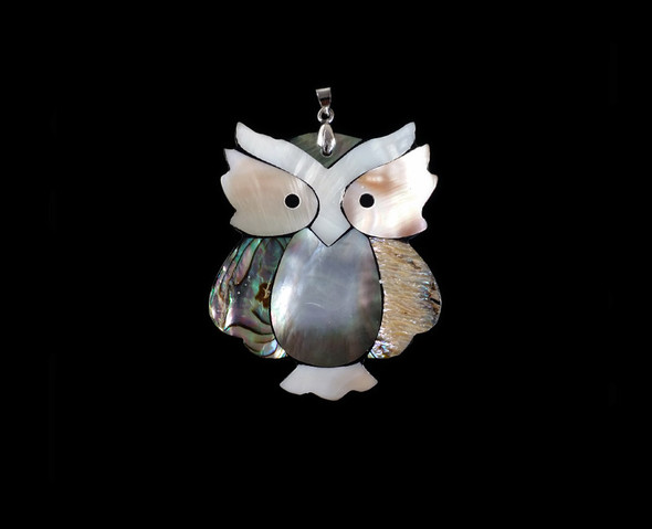 40x50mm Multi Shell Owl Pendant