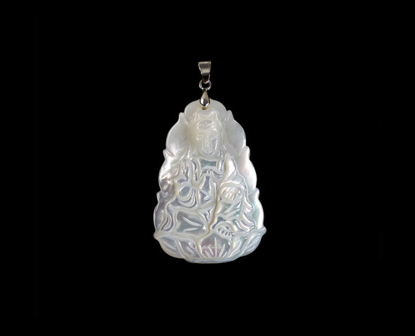 26x38mm Mother Of Pearl Guanyin Buddha Pendant