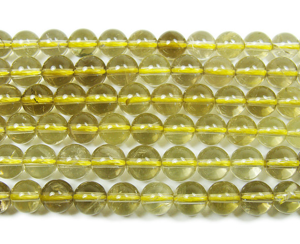 Lemon quartz smooth round beads