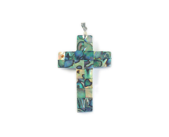 36x50mm Abalone mosaic cross pendant