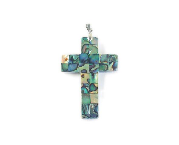 36x50mm Abalone Mosaic Cross Pendant