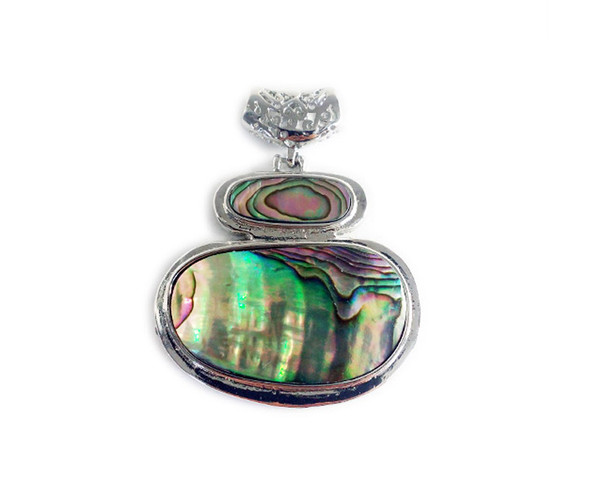 46x54mm Abalone shell double oval pendant with metal frame
