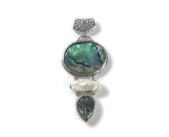 45x62mm Abalone Shell And Blister Double Oval Pendant With Metal Frame