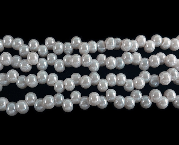 3x6mm Gray Off-Center Rondelle Glass Beads