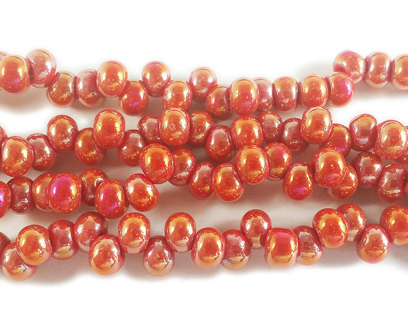 3x6mm Red Orange With Ab Off-Center Rondelle Glass Beads