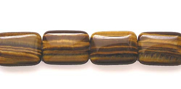 18x25mm Tiger Eye Puffed Rectangle Beads