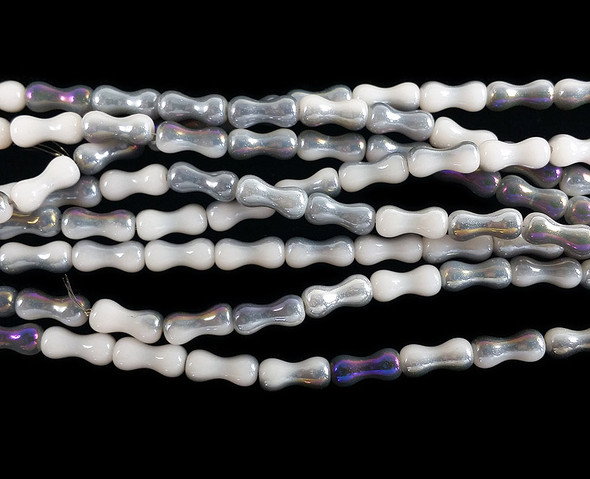 3.5x8mm White with purple AB hourglass crystal glass beads