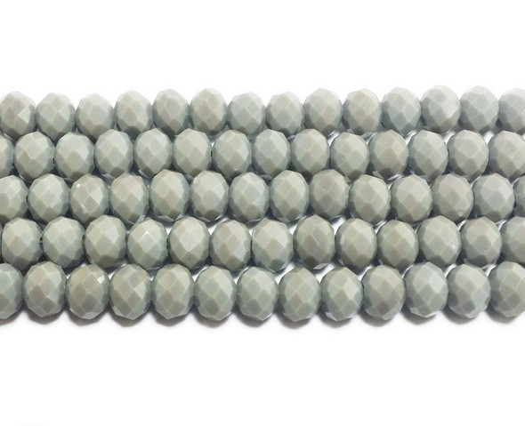 6x8mm 72 Beads Cool Gray Glass Faceted Rondelle Beads