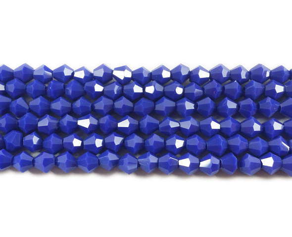 4mm  for 5 str Lapis blue glass faceted bicone beads