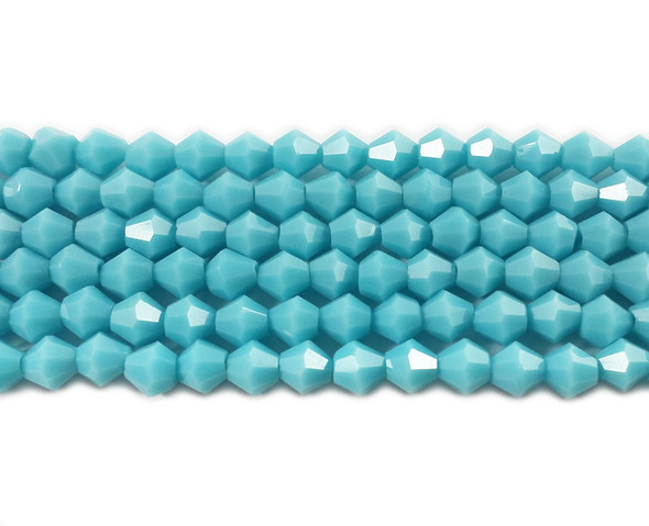 4mm  for 5 str Turquoise glass faceted bicone beads