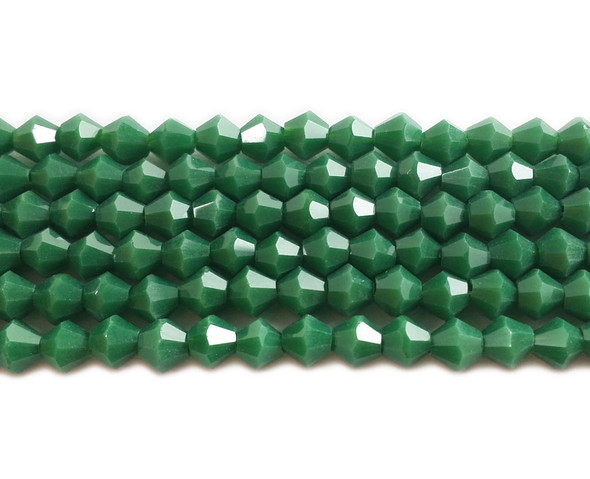 4mm  for 5 str Green glass faceted bicone beads