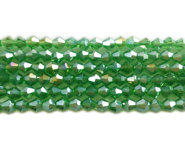 4mm  for 5 str Green with AB glass faceted bicone beads