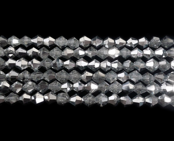 4mm  for 5 str Clear with silver AB glass faceted bicone beads
