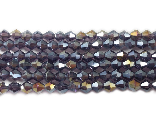 4mm  for 5 str Dark purple with AB glass faceted bicone beads