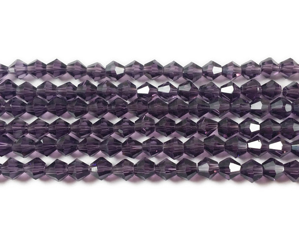 4mm  for 5 str Dark purple glass faceted bicone beads