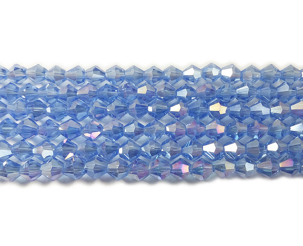 4mm  for 5 str Sky blue with AB glass faceted bicone beads