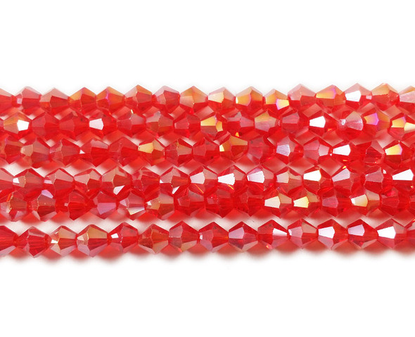 4mm  for 5 str Candy red with AB glass faceted bicone beads