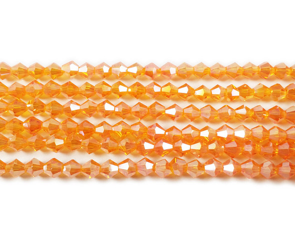 4mm  for 5 str Bright orange with AB glass faceted bicone beads