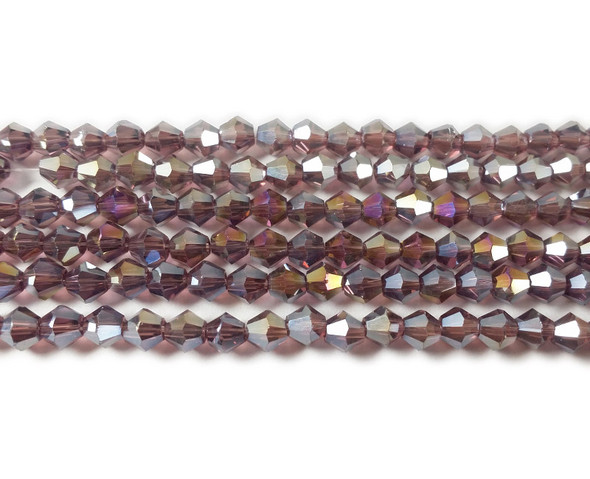 4mm  for 5 str Purple with AB glass faceted bicone beads
