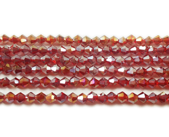 4mm  for 5 str Red with AB glass faceted bicone beads