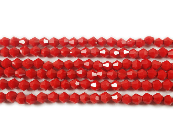 4mm  for 5 str Solid red glass faceted bicone beads