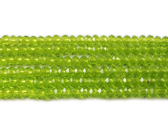 2x3mm For 5 Str Spring Green Glass Faceted Rondelles