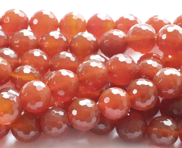 10mm Carnelian Faceted Round Beads