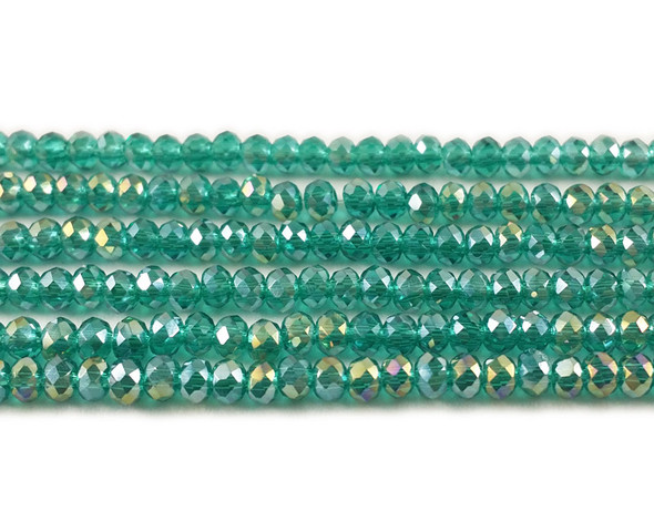 2x3mm For 2 Str Sea Green With Ab Glass Faceted Rondelles