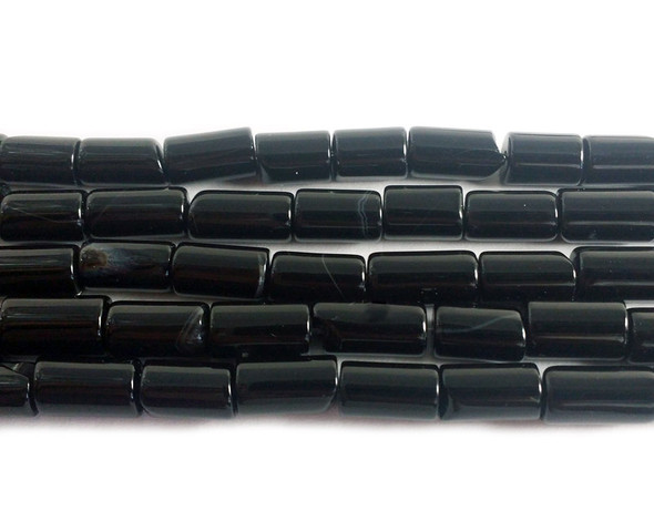 Black agate cylinder tube beads (6x10mm) at GIFTSJOY.COM