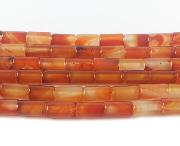 6x10mm Red agate cylinder tube beads