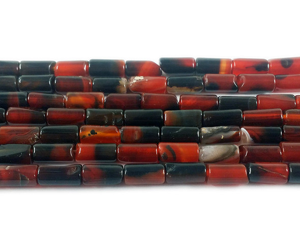 4x8.5mm Dark red and black agate cylinder tube beads