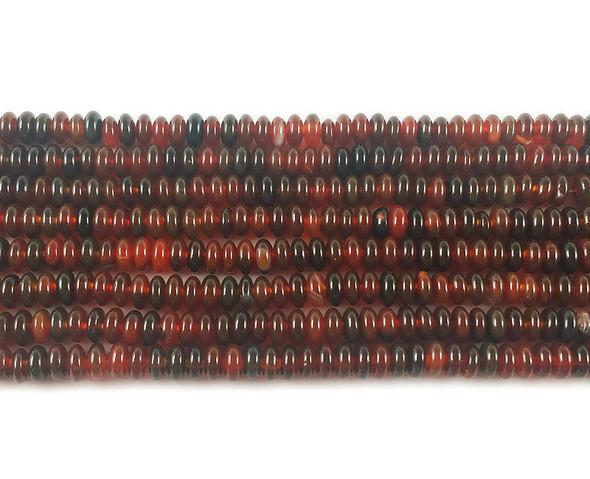 2x4mm Dark Red Agate Rondelle Beads