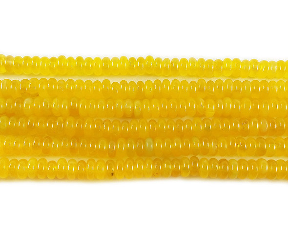 3x7mm Bright Yellow Agate Rondelle Beads