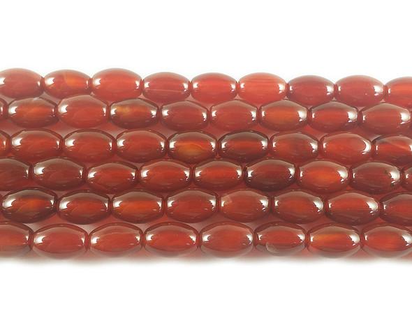 8x12mm Carnelian Agate Barrel Beads