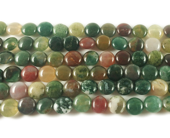 8mm Indian Agate Coin Beads
