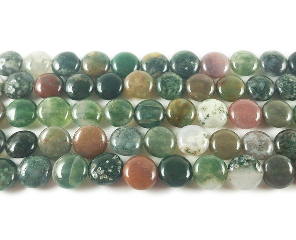 10mm Indian Agate Coin Beads