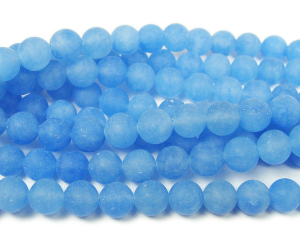 8mm  15.5 inches Blue jade matte round beads
