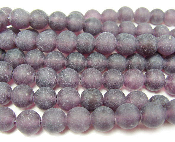 8mm  15.5 inches Amethyst colored jade matte round beads