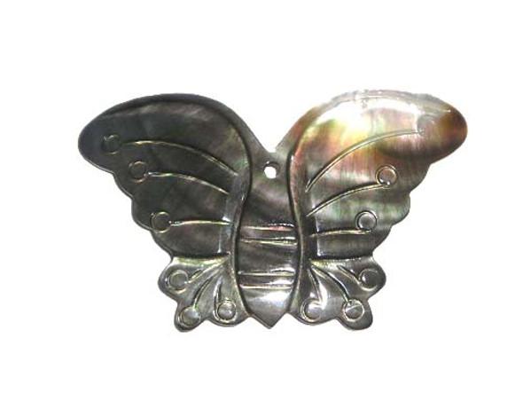 35x60mm Black sea shell butterfly pendant