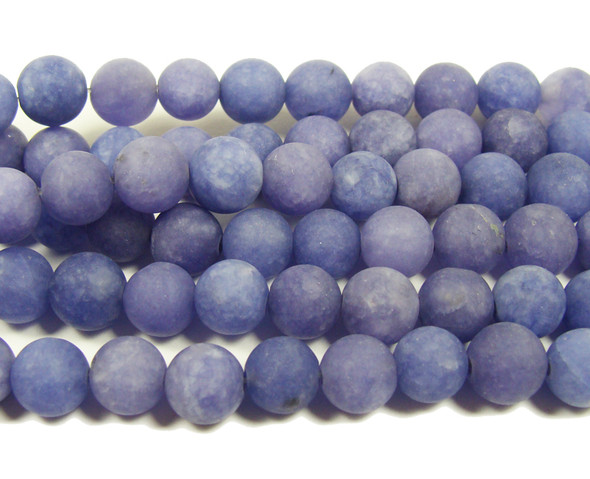 8mm  15.5 inches Purple color jade matte round beads