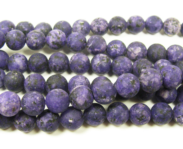 8mm  15.5 inches Dark purple kiwi jade matte round beads