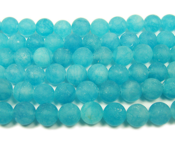 8mm  15.5 inches Sea blue jade matte round beads