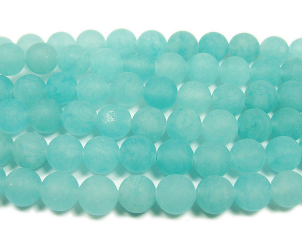 8mm  15.5 inches Light blue jade matte round beads