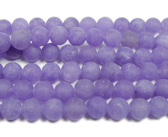 8mm 15.5 Inches Purple Jade Matte Round Beads