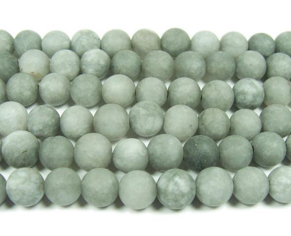 8mm 15.5 Inches Gray Jade Matte Round Beads