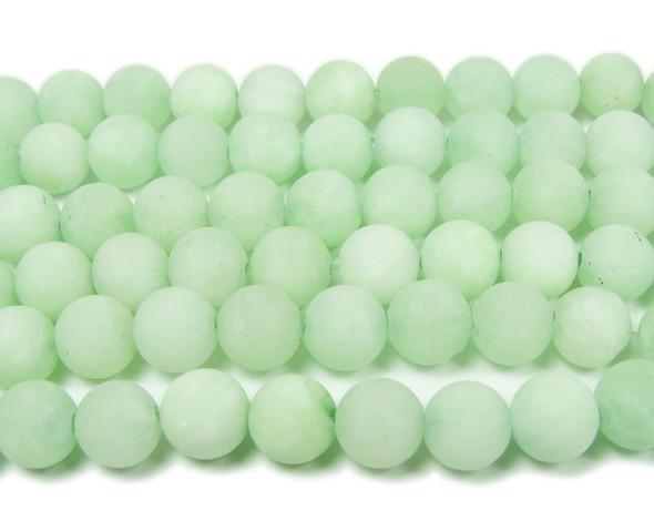 light green matte round beads 8mm  15.5 inches New jade  matte round beads