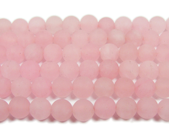 8mm  15.5 inches Rose pink jade matte round beads