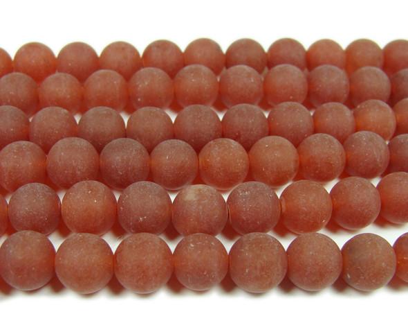 8mm  15.5 inches Dark red jade matte round beads
