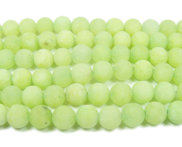 8mm  15.5 inches Light green jade matte round beads